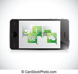 telefone, contato, communication., nós, ilustração