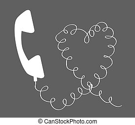 telefone, contra, escuro, experiência., receptor, branca