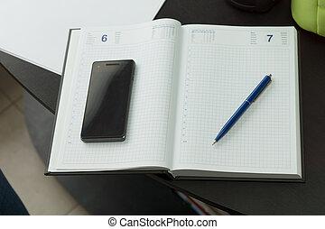 telefone, e, caneta, ligado, limpo, caderno
