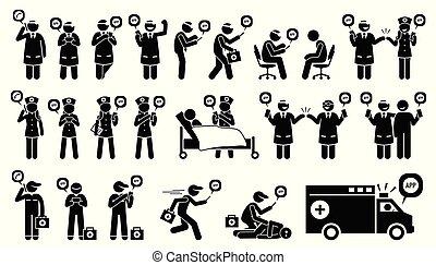 telefone emergência, móvel, médico, cuidados de saúde, patient., doutor, enfermeira, técnico, app