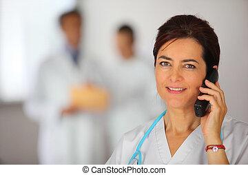 telefone, enfermeira