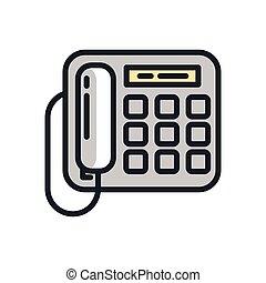 telefone escritório, ícone, cor, cor