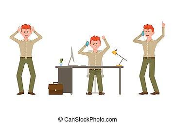 telefone escritório, falando, personagem, illustration., menino, vermelho, caricatura, calças, cabelo, shouting, zangado, escrivaninha, cansado, homem, vetorial, verde, sentando, jogo