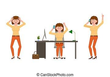 telefone escritório, falar mulher, laranja, personagem, illustration., caricatura, calças, cabelo, shouting, marrom, zangado, escrivaninha, cansado, vetorial, menina, sentando, jogo