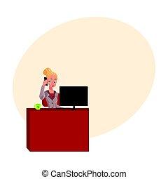 telefone, escritório, responder, jovem, executiva, chamando, loura, tabela, secretária