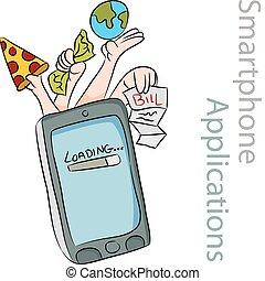 telefone, esperto, aplicações