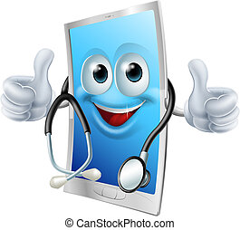 telefone, estetoscópio, doutor