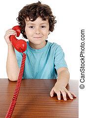 telefone, falando, criança