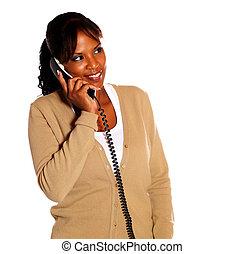 telefone, falando, mulher, jovem, bonito