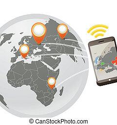 telefone fios, conexão, global, ilustração