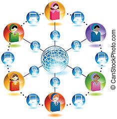 telefone fios, pessoas vendas, rede