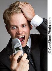 telefone, gritando, homem