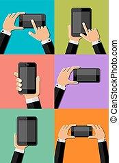 telefone, halten hände, beweglich