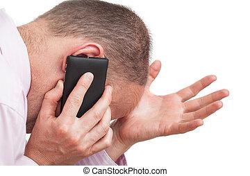 telefone, homem, frustrado, falando