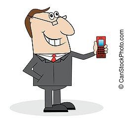 telefone, homem, negócio, mão