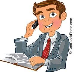 telefone, homens, livro