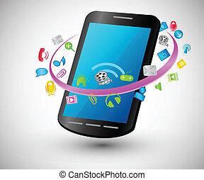 telefone, ic, modernos, esperto, internet