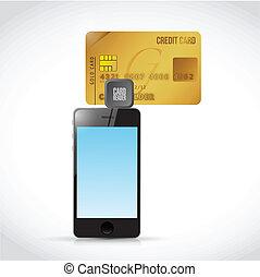 telefone, ilustração, crédito, desenho, leitor, cartão