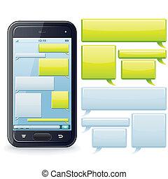 telefone, imagem, vetorial, template., conversando