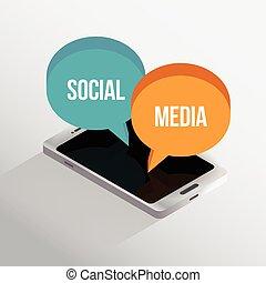telefone, isometric, social, mídia