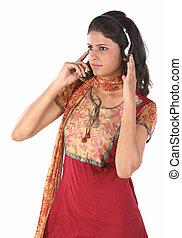 telefone, kopf, frau, zuhören