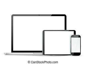 telefone, laptop, jogo, tabuleta, móvel