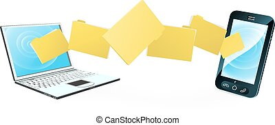 telefone, laptop, transferência arquivo