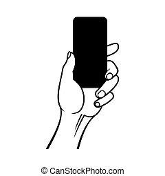 telefone, mão, experiência., vetorial, segurando, branca, esperto