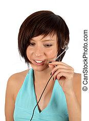 telefone, m�dchen, kopf, junger
