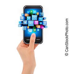 telefone móvel, ícone, segurando mão
