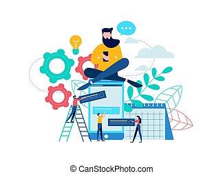 telefone móvel, app, conceito, para, predios, site web