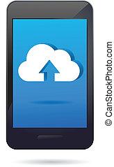 telefone móvel, app, nuvem, ícone