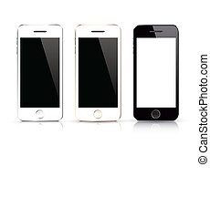 telefone móvel, branca, modernos, isolated.
