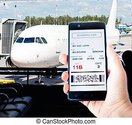 telefone móvel, cartão embarque