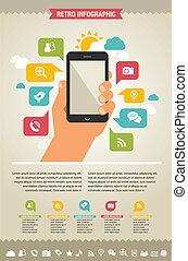 telefone móvel, com, ícones, -, infographic, e, site web, fundo