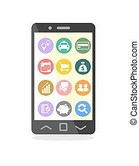 telefone móvel, com, ícones negócio