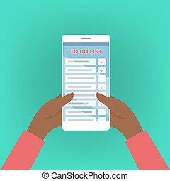 telefone móvel, com, fazer lista, ligado, tela