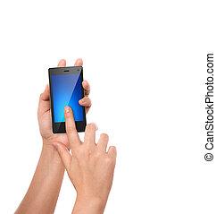 telefone móvel, com, mão