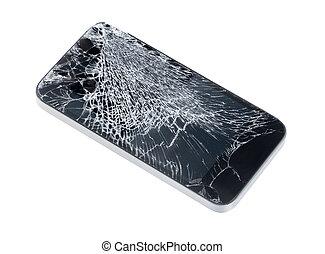 telefone móvel, com, quebrada, tela