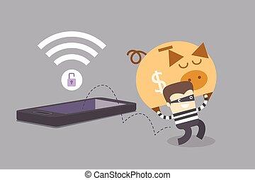 telefone móvel, conceito, crime