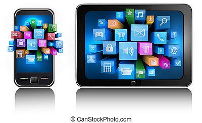 telefone móvel, e, pc tabela