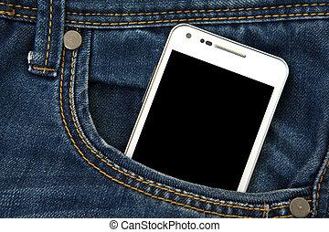 telefone móvel, em, bolso, com, pretas, screen., foco,...