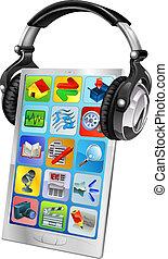 telefone móvel, fones, música