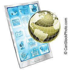 telefone móvel, globo, conceito