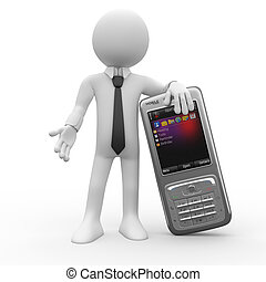 telefone móvel, homem, inclinar-se, grande