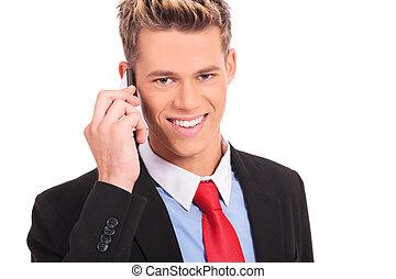 telefone móvel, homem, negócio, falando
