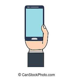 telefone móvel, homem negócios, tecnologia, mão