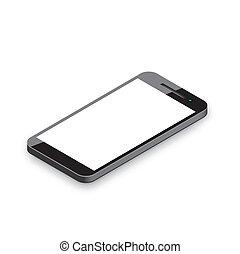 telefone, móvel, isolado, re, white.