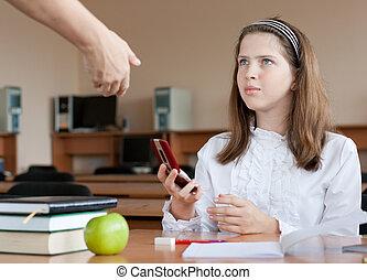 telefone móvel, lição, professor, confiscates