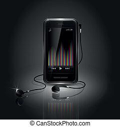 telefone móvel, música, tocando, lustroso